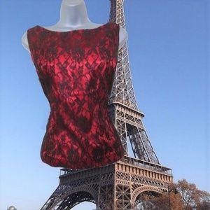 plus size vintage red lace top 14 16 1x